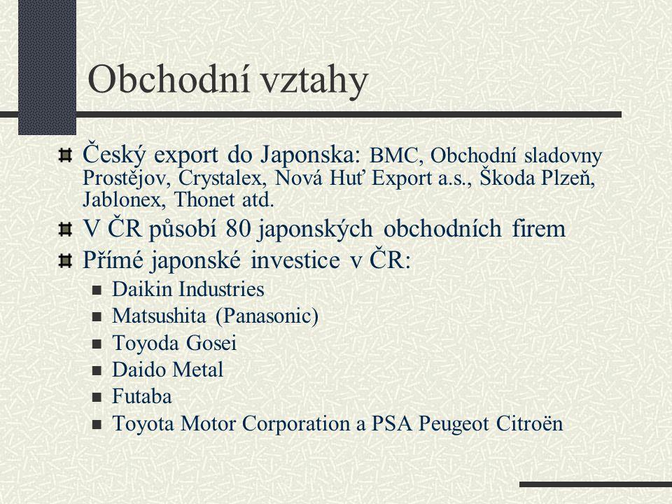 Obchodní vztahy Český export do Japonska: BMC, Obchodní sladovny Prostějov, Crystalex, Nová Huť Export a.s., Škoda Plzeň, Jablonex, Thonet atd. V ČR p