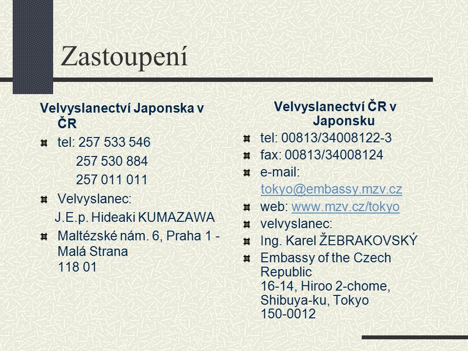 Zastoupení Velvyslanectví Japonska v ČR tel: 257 533 546 257 530 884 257 011 011 Velvyslanec: J.E.p. Hideaki KUMAZAWA Maltézské nám. 6, Praha 1 - Malá