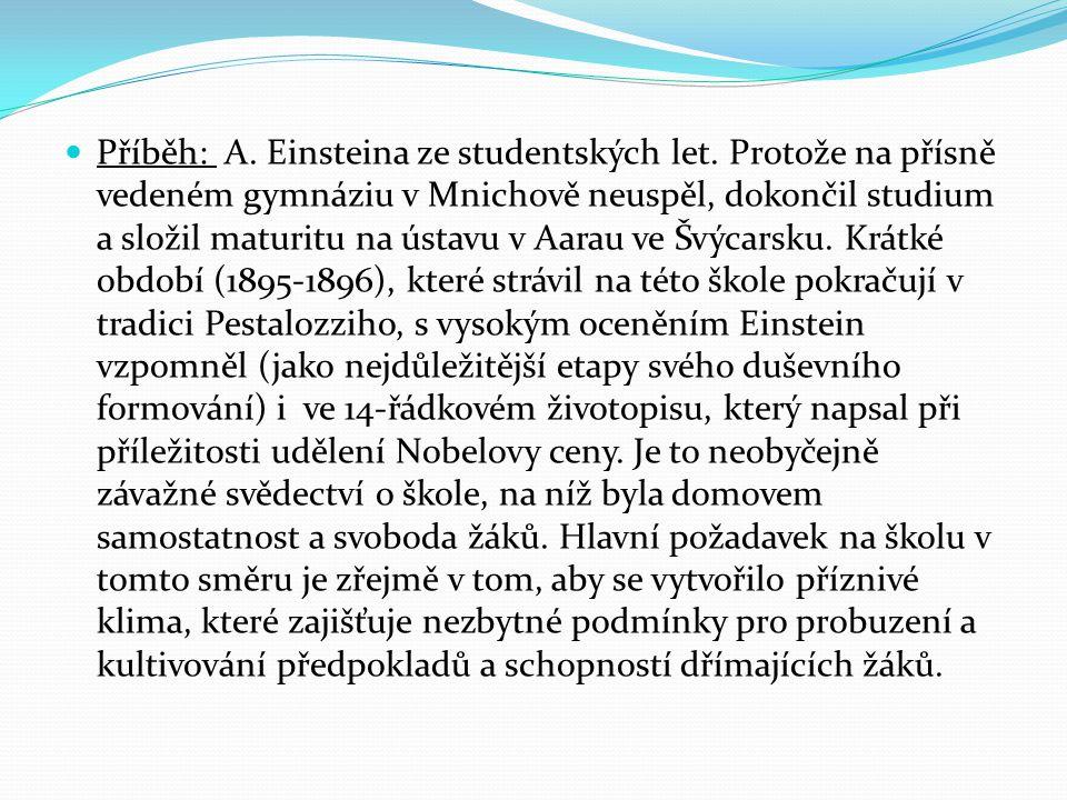 Příběh: A. Einsteina ze studentských let.