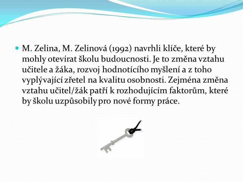M. Zelina, M. Zelinová (1992) navrhli klíče, které by mohly otevírat školu budoucnosti.