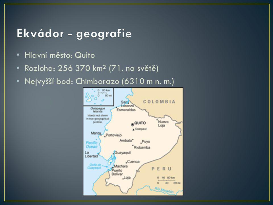 Hlavní město: Quito Rozloha: 256 370 km² (71. na světě) Nejvyšší bod: Chimborazo (6310 m n. m.)