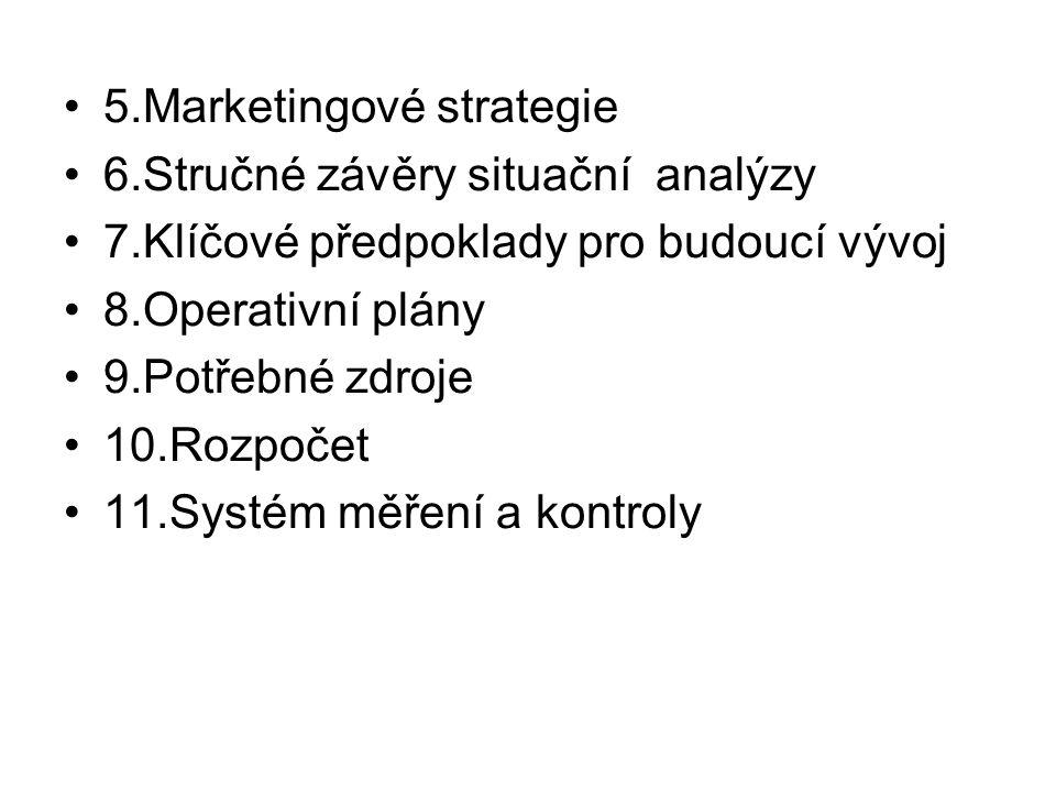 5.Marketingové strategie 6.Stručné závěry situační analýzy 7.Klíčové předpoklady pro budoucí vývoj 8.Operativní plány 9.Potřebné zdroje 10.Rozpočet 11