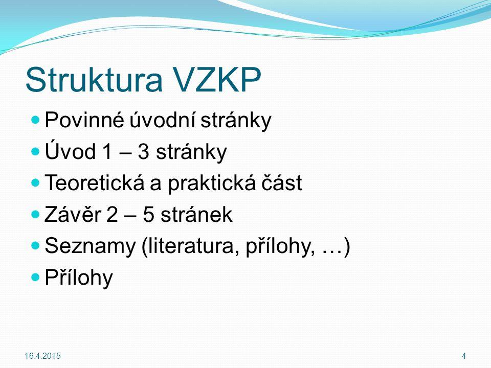 Závěr Podrobně a výstižně shrnout dosažené výsledky VZKP Jaké byly použity podklady Od koho Název programů Sdělení např.