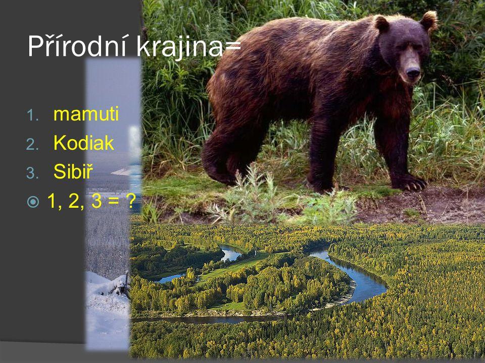 1. mamuti 2. Kodiak 3. Sibiř  1, 2, 3 = ? Přírodní krajina=