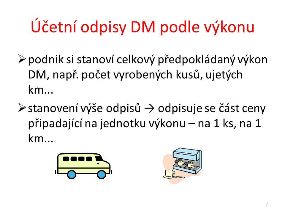 Účetní odpisy DM podle výkonu  podnik si stanoví celkový předpokládaný výkon DM, např.