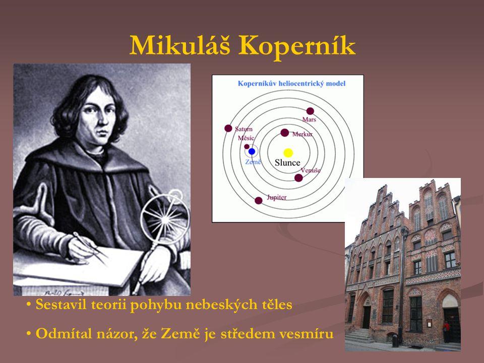 Mikuláš Koperník Sestavil teorii pohybu nebeských těles Odmítal názor, že Země je středem vesmíru