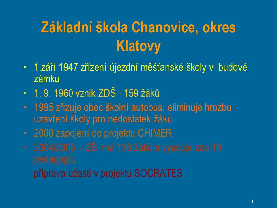 3 Základní škola Chanovice, okres Klatovy 1.září 1947 zřízení újezdní měšťanské školy v budově zámku 1.