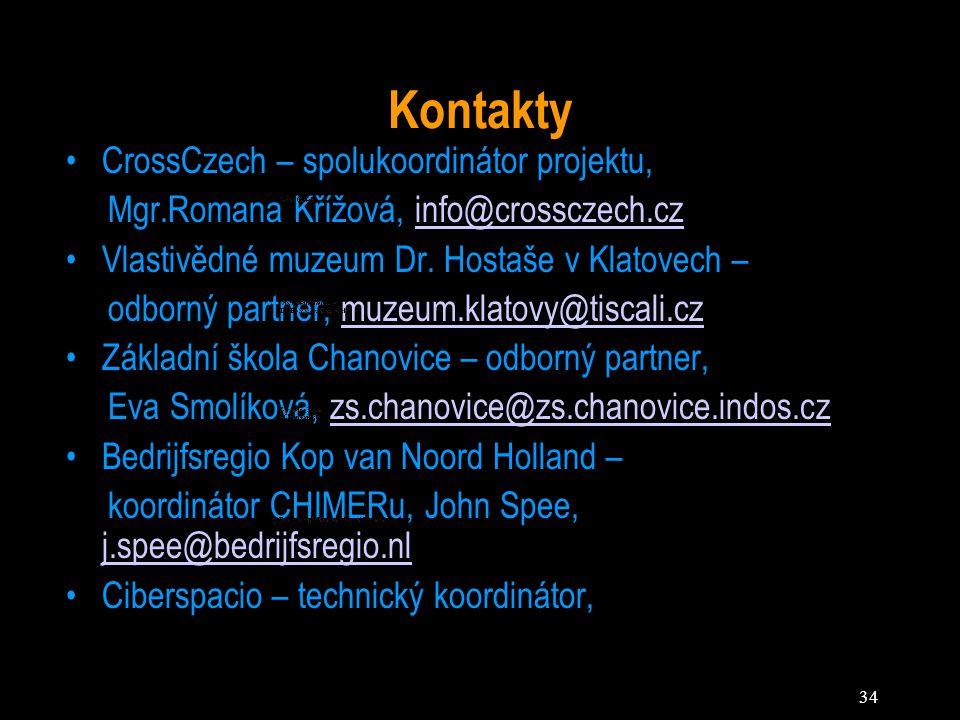 34 Kontakty CrossCzech – spolukoordinátor projektu, Mgr.Romana Křížová, info@crossczech.czinfo@crossczech.cz Vlastivědné muzeum Dr. Hostaše v Klatovec