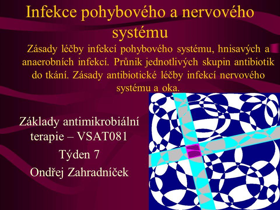 Průnik atb do CNS (Lochmann) Dobrý průnik před bariéru i v případě, že není poškozená zánětem: karbapenemy, chloramfenikol, kotrimoxazol, nitroimidazoly, monobaktamy, flukonazol, flucytozin Dobrý průnik jen při postižených plenách: peniciliny, cefuroxim, cefalosporiny třetí generace, tetracykliny, amikacin, glykopeptidy, fluorochinolony, acyklovir