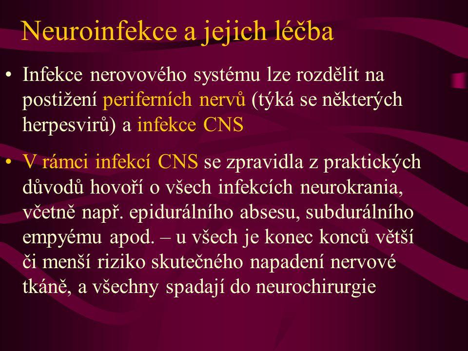 Neuroinfekce a jejich léčba Infekce nerovového systému lze rozdělit na postižení periferních nervů (týká se některých herpesvirů) a infekce CNS V rámci infekcí CNS se zpravidla z praktických důvodů hovoří o všech infekcích neurokrania, včetně např.
