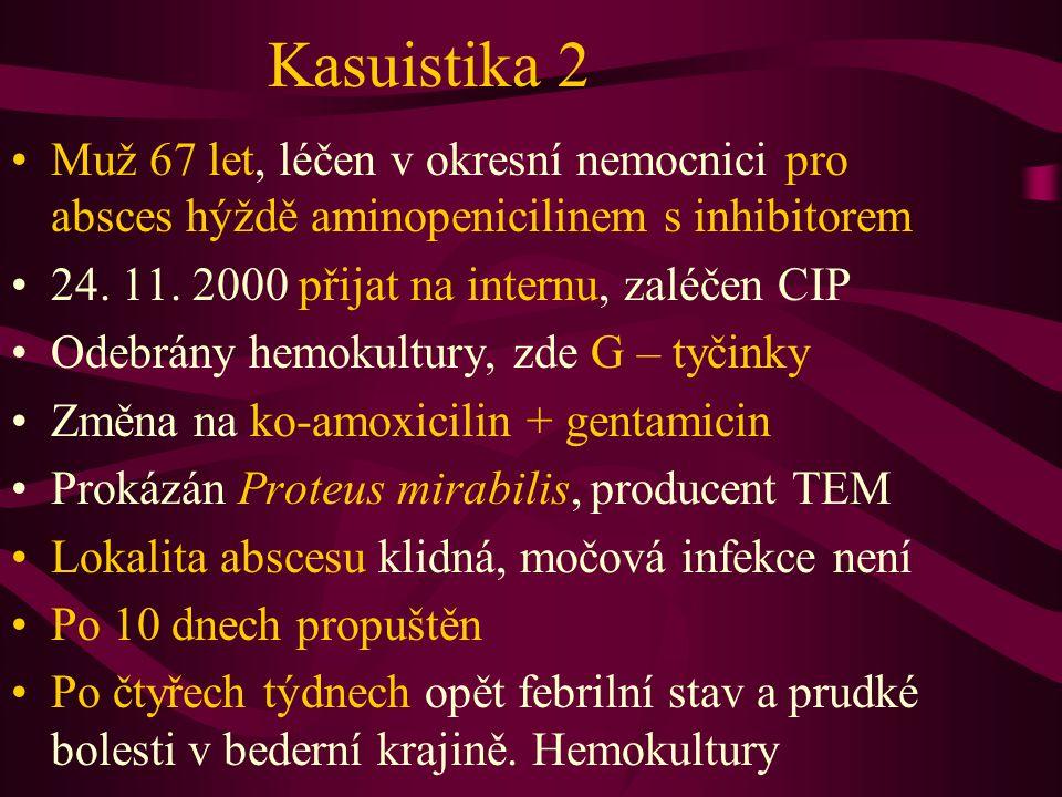 Kasuistika 2 Muž 67 let, léčen v okresní nemocnici pro absces hýždě aminopenicilinem s inhibitorem 24.