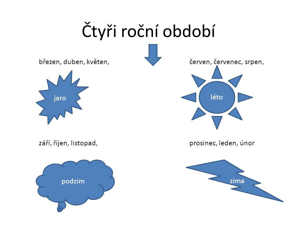 Čtyři roční období podzim léto jaro zima březen, duben, květen, červen, červenec, srpen, září, říjen, listopad,prosinec, leden, únor