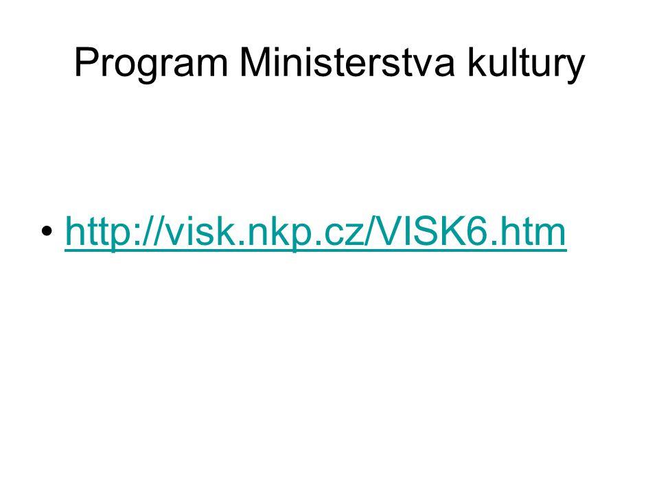Program Ministerstva kultury http://visk.nkp.cz/VISK6.htm