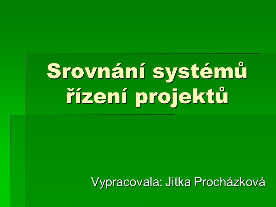Srovnání systémů řízení projektů Vypracovala: Jitka Procházková