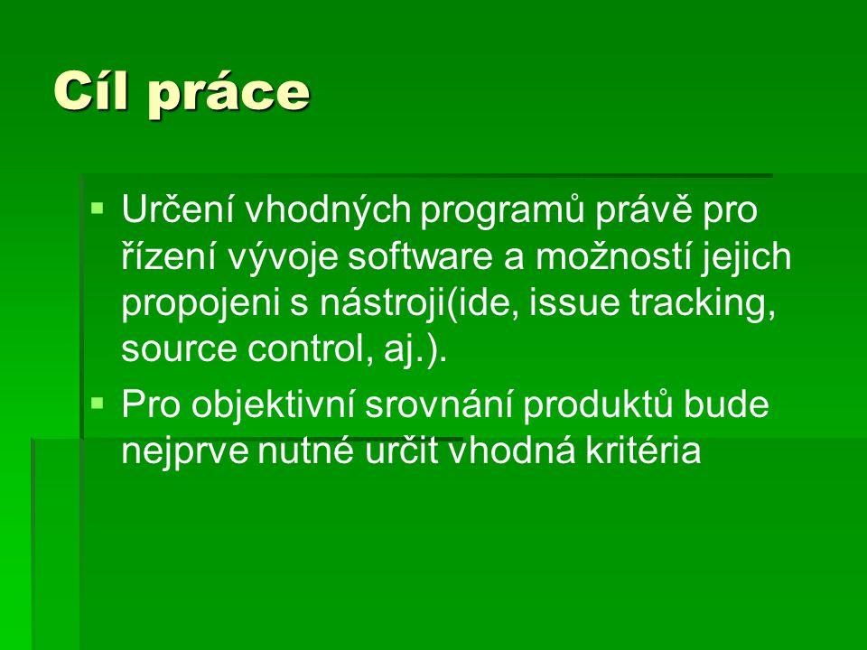 Cíl práce   Určení vhodných programů právě pro řízení vývoje software a možností jejich propojeni s nástroji(ide, issue tracking, source control, aj
