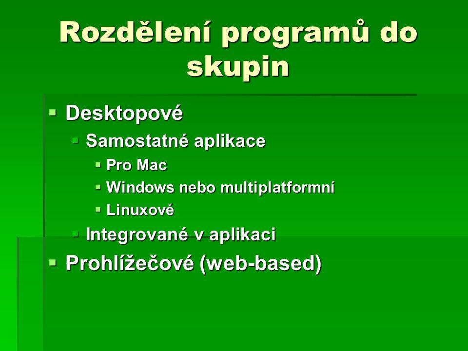 Rozdělení programů do skupin  Desktopové  Samostatné aplikace  Pro Mac  Windows nebo multiplatformní  Linuxové  Integrované v aplikaci  Prohlížečové (web-based)