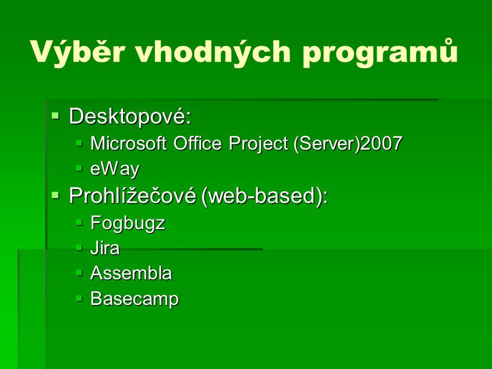 Výběr vhodných programů  Desktopové:  Microsoft Office Project (Server)2007  eWay  Prohlížečové (web-based):  Fogbugz  Jira  Assembla  Basecam