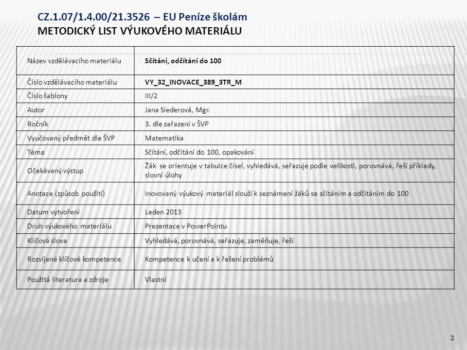 Název vzdělávacího materiáluSčítání, odčítání do 100 Číslo vzdělávacího materiáluVY_32_INOVACE_389_3TR_M Číslo šablonyIII/2 AutorJana Siederová, Mgr.