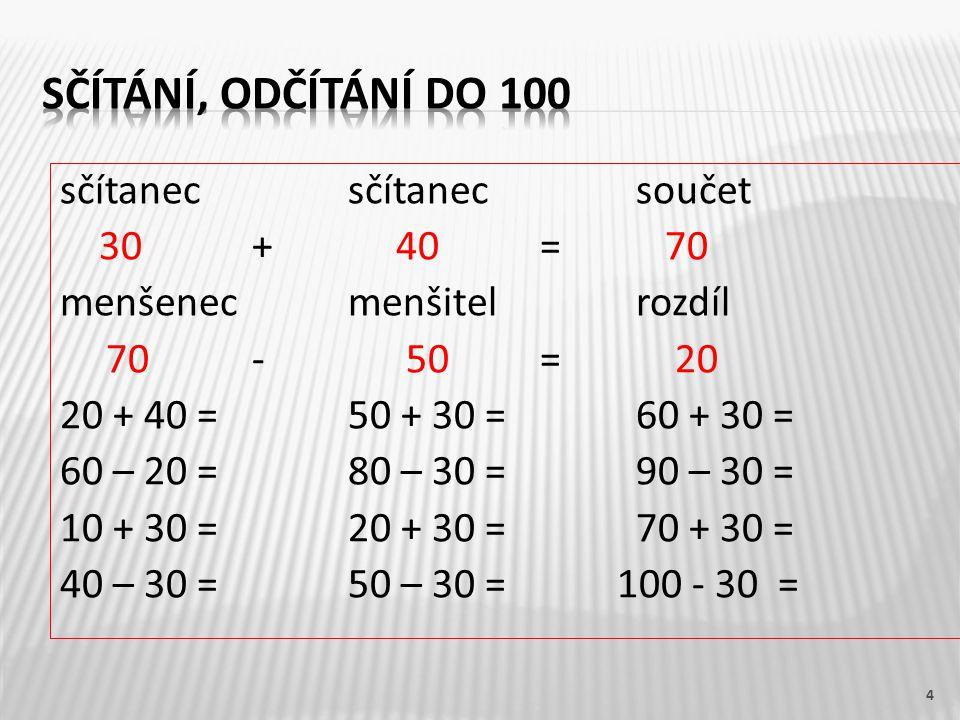 sčítanecsčítanecsoučet 30+ 40 = 70 menšenecmenšitelrozdíl 70- 50= 20 20 + 40 =50 + 30 =60 + 30 = 60 – 20 =80 – 30 =90 – 30 = 10 + 30 =20 + 30 =70 + 30 = 40 – 30 =50 – 30 = 100 - 30 = 4