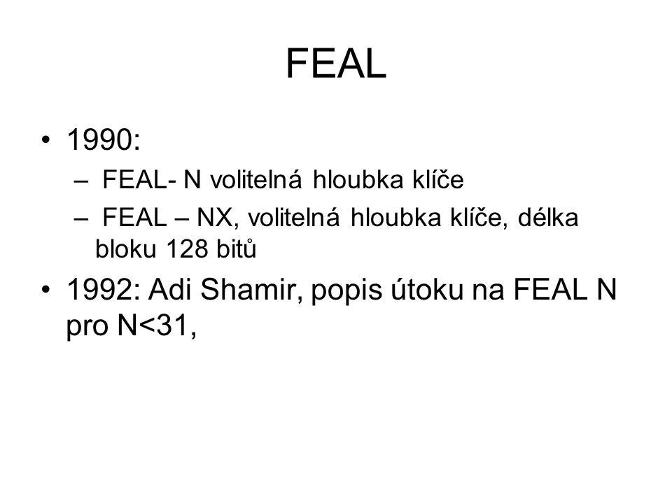 FEAL 1990: – FEAL- N volitelná hloubka klíče – FEAL – NX, volitelná hloubka klíče, délka bloku 128 bitů 1992: Adi Shamir, popis útoku na FEAL N pro N<