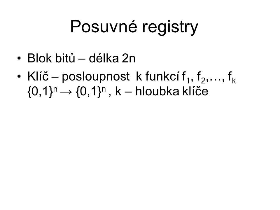 Posuvné registry Blok bitů – délka 2n Klíč – posloupnost k funkcí f 1, f 2,…, f k {0,1} n → {0,1} n, k – hloubka klíče