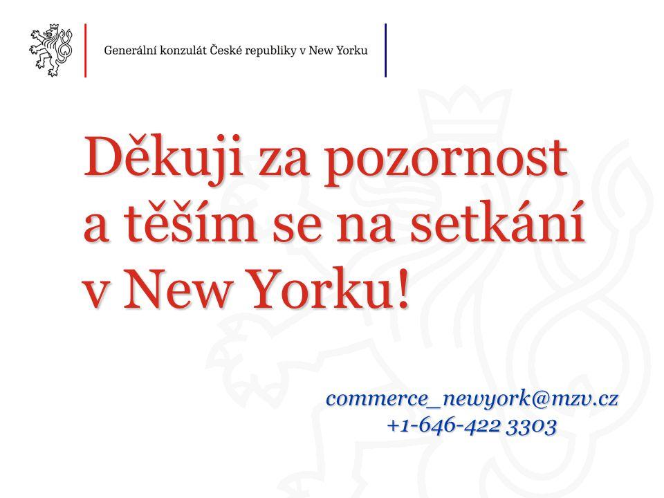Děkuji za pozornost a těším se na setkání v New Yorku! commerce_newyork@mzv.cz +1-646-422 3303