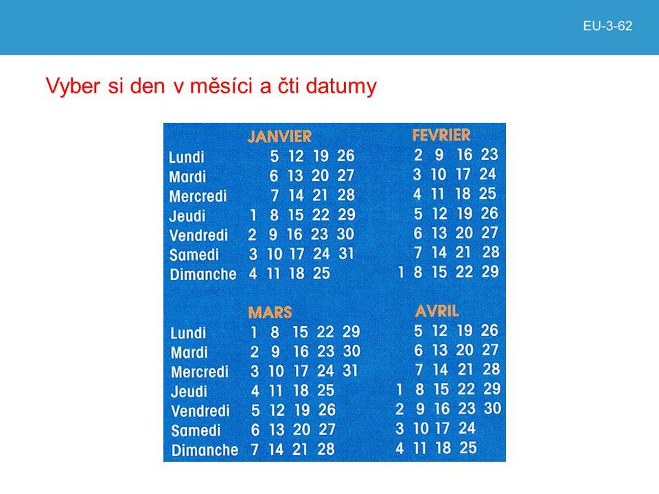 Vyber si den v měsíci a čti datumy