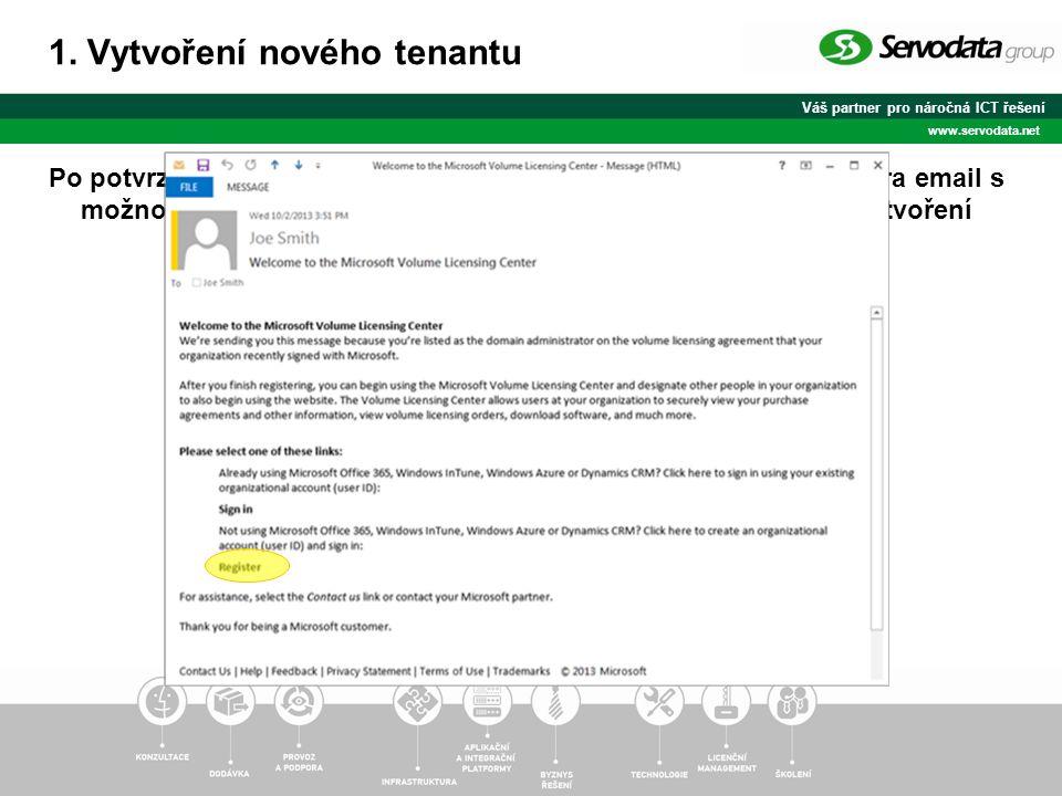 Váš partner pro náročná ICT řešení www.servodata.net Po potvrzení smlouvy MPSA dorazí na email Domain Administrátora email s možností přihlášení pomocí Organizational Account anebo vytvoření nového přístupu a nového tenantu 1.