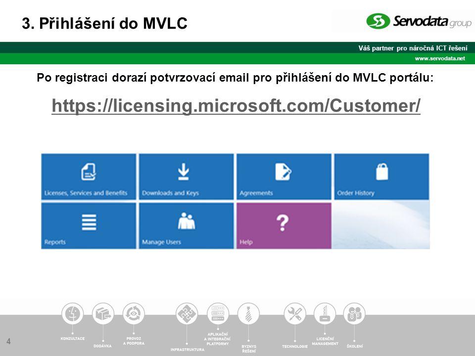 Váš partner pro náročná ICT řešení www.servodata.net Po registraci dorazí potvrzovací email pro přihlášení do MVLC portálu: 3.