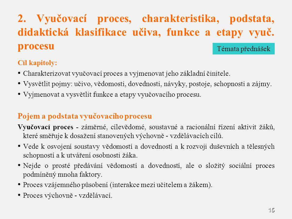 15 2. Vyučovací proces, charakteristika, podstata, didaktická klasifikace učiva, funkce a etapy vyuč. procesu Cíl kapitoly: Charakterizovat vyučovací