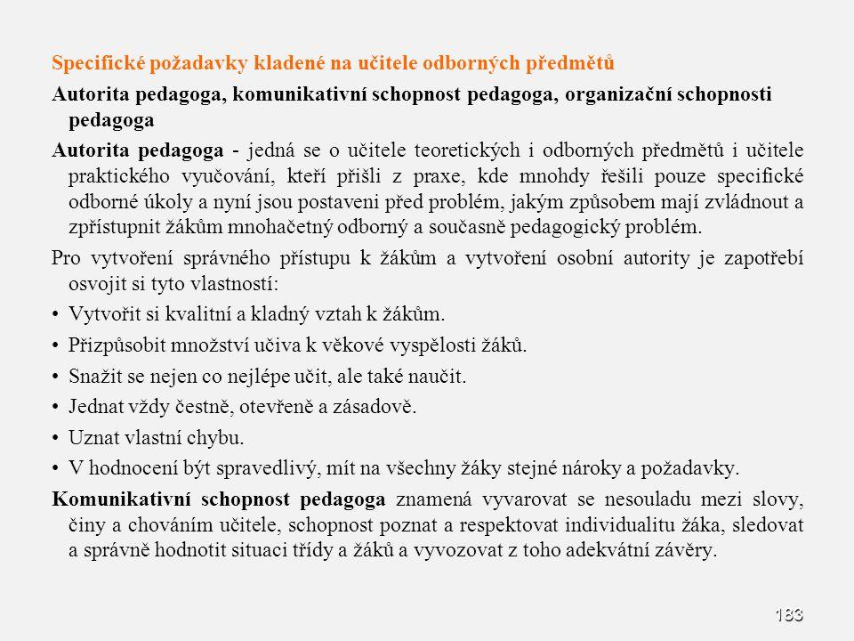 183 Specifické požadavky kladené na učitele odborných předmětů Autorita pedagoga, komunikativní schopnost pedagoga, organizační schopnosti pedagoga Au