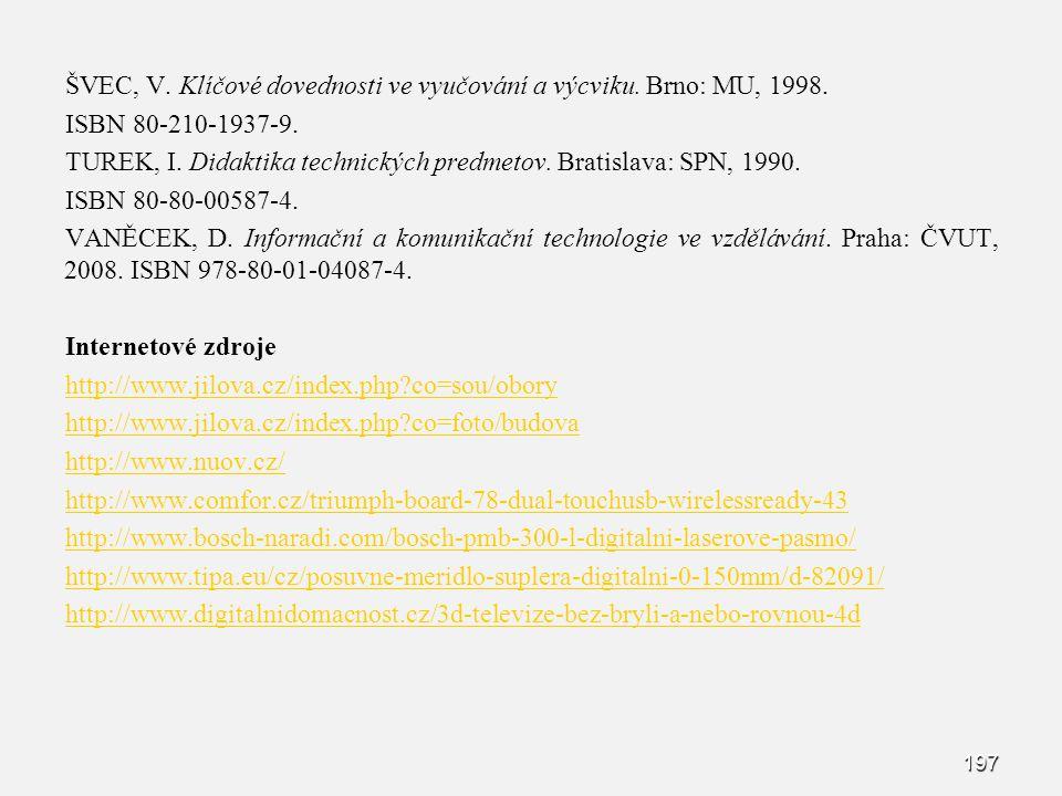 ŠVEC, V. Klíčové dovednosti ve vyučování a výcviku. Brno: MU, 1998. ISBN 80-210-1937-9. TUREK, I. Didaktika technických predmetov. Bratislava: SPN, 19