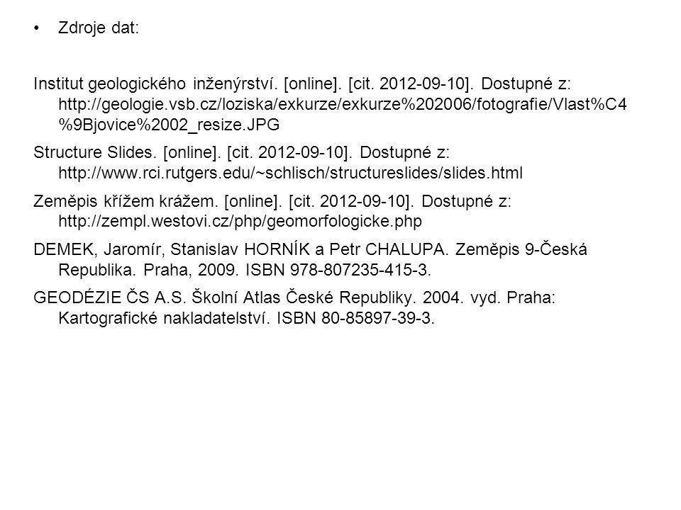 Zdroje dat: Institut geologického inženýrství. [online]. [cit. 2012-09-10]. Dostupné z: http://geologie.vsb.cz/loziska/exkurze/exkurze%202006/fotograf
