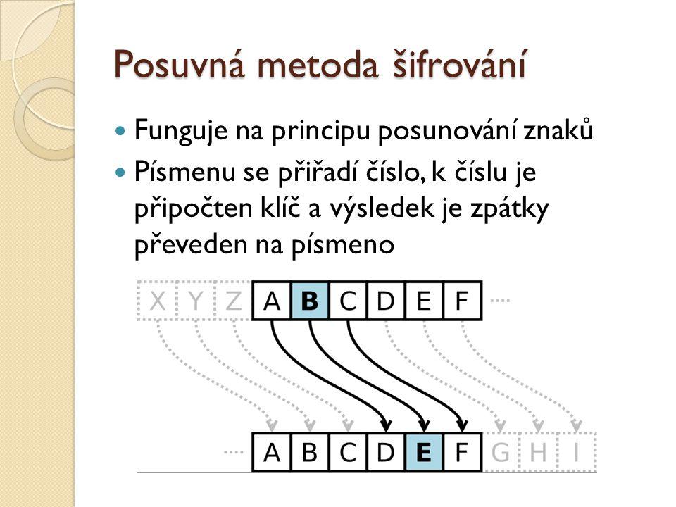 Posuvná metoda šifrování Funguje na principu posunování znaků Písmenu se přiřadí číslo, k číslu je připočten klíč a výsledek je zpátky převeden na písmeno