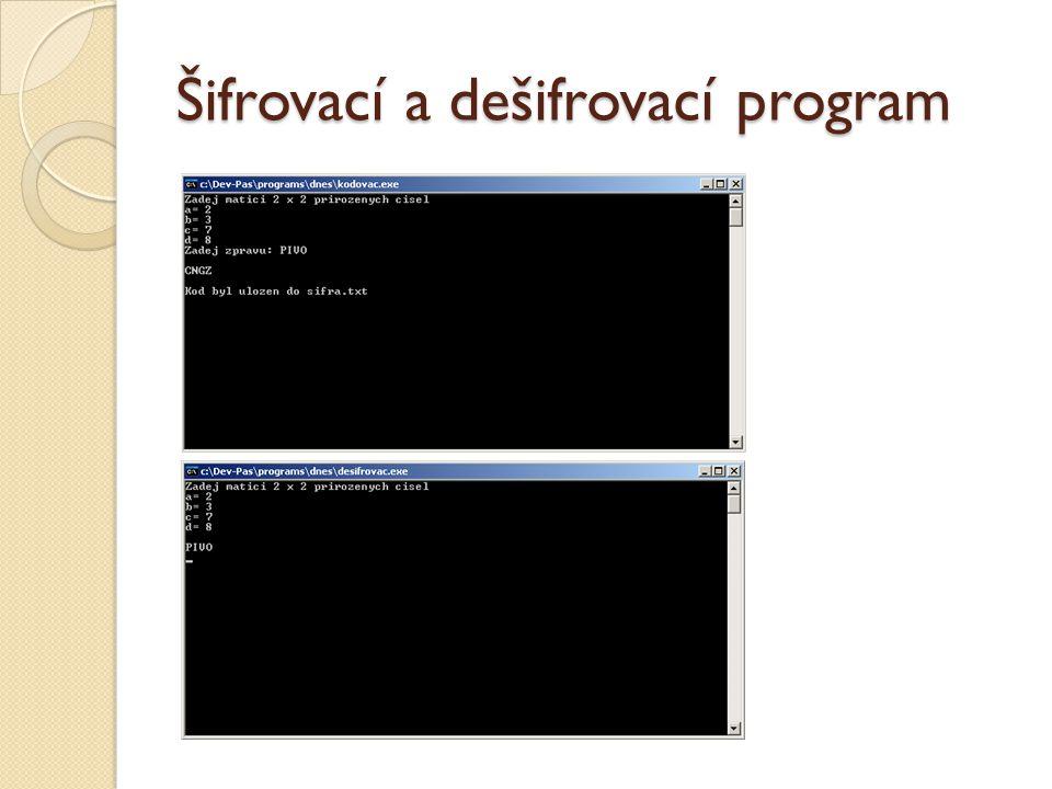 Šifrovací a dešifrovací program