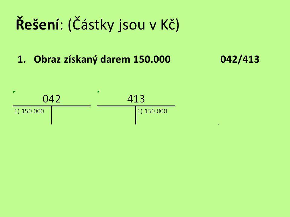 Řešení: (Částky jsou v Kč) 1.Obraz získaný darem 150.000042/413