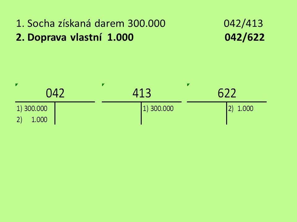 1. Socha získaná darem 300.000042/413 2. Doprava vlastní 1.000 042/622
