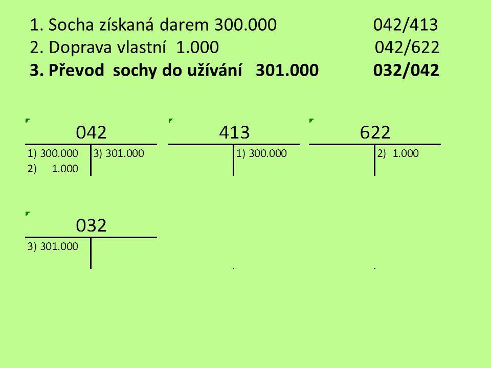 1. Socha získaná darem 300.000042/413 2. Doprava vlastní 1.000 042/622 3.