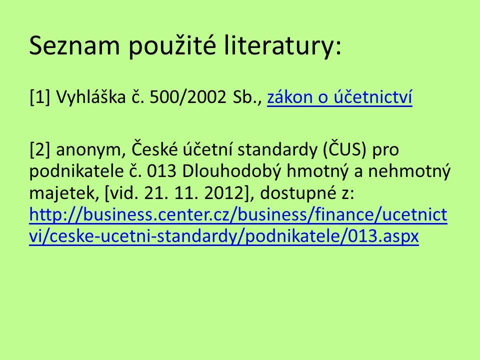 Seznam použité literatury: [1] Vyhláška č.