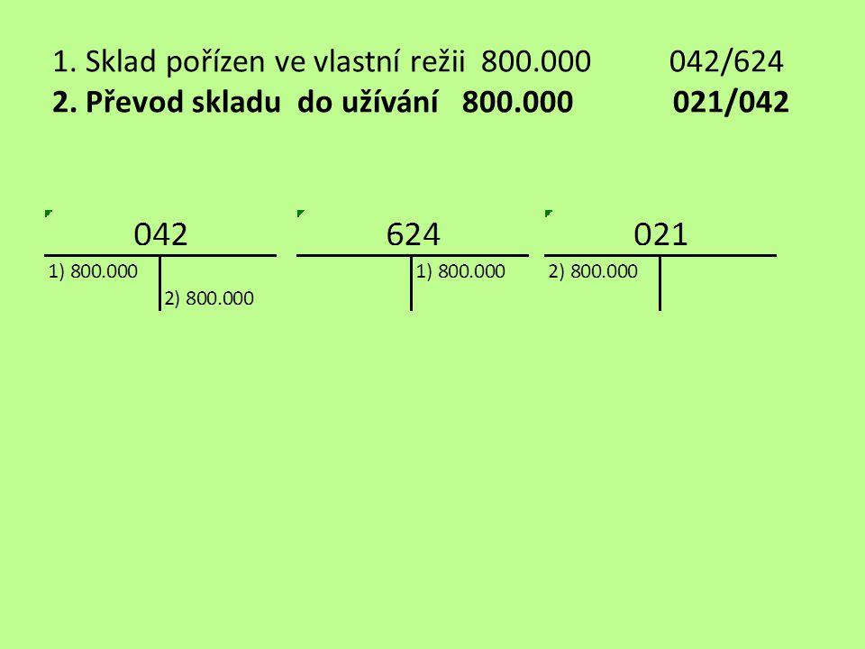 1. Sklad pořízen ve vlastní režii 800.000 042/624 2. Převod skladu do užívání 800.000 021/042
