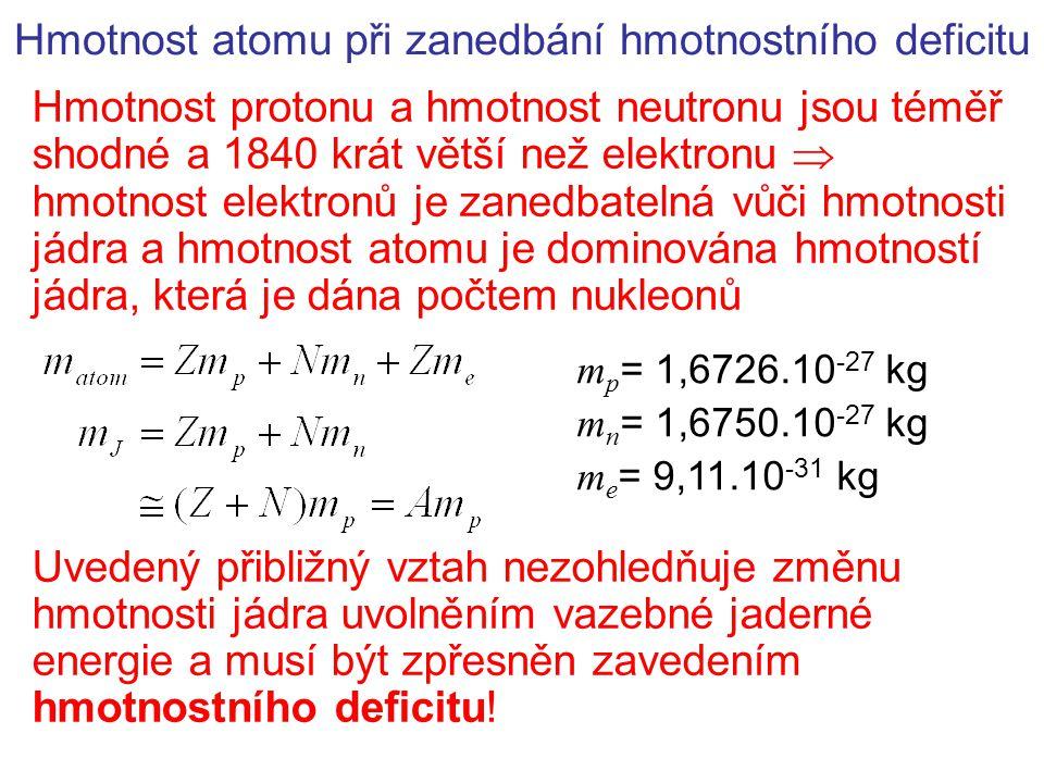 Hmotnosti izotopů se standardně udávají včetně hmotností elektronů  Atomová hmotnostní jednotka – definována jako 1/12 hmotnosti atomu izotopu 12 C m u = 1,6605.10 -27 kg Hmotnostní deficit (defekt)  m Při vytvoření jádra ze Z protonů a N neutronů se uvolní vazebná energie, tj.
