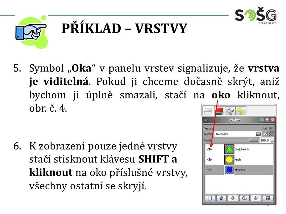 """PŘÍKLAD – VRSTVY 5.Symbol """"Oka v panelu vrstev signalizuje, že vrstva je viditelná."""