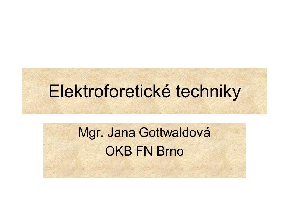 Osnova 1.Princip elektroforézy 2.Popis základního technického vybavení 3.Rozdělení elektroforetických technik (volná a zónová) 4.Zónová elektroforéza – gelová (AGE, PAGE) 5.Hlavní typy gelové elektroforézy ( nativní, denaturační, kontinuální, diskontinuální….) 6.Zpracování gelu po separaci 7.Základní elektroforetické techniky (IEF, CE…..)