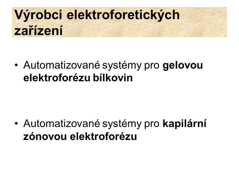Výrobci elektroforetických zařízení Automatizované systémy pro gelovou elektroforézu bílkovin Automatizované systémy pro kapilární zónovou elektroforé