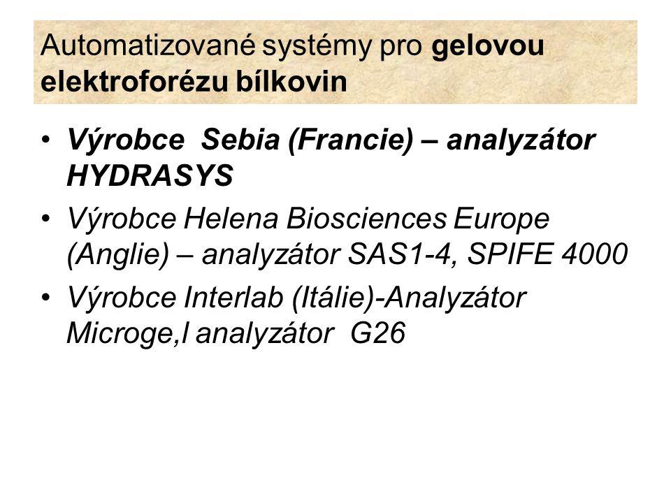 Automatizované systémy pro gelovou elektroforézu bílkovin Výrobce Sebia (Francie) – analyzátor HYDRASYS Výrobce Helena Biosciences Europe (Anglie) – a