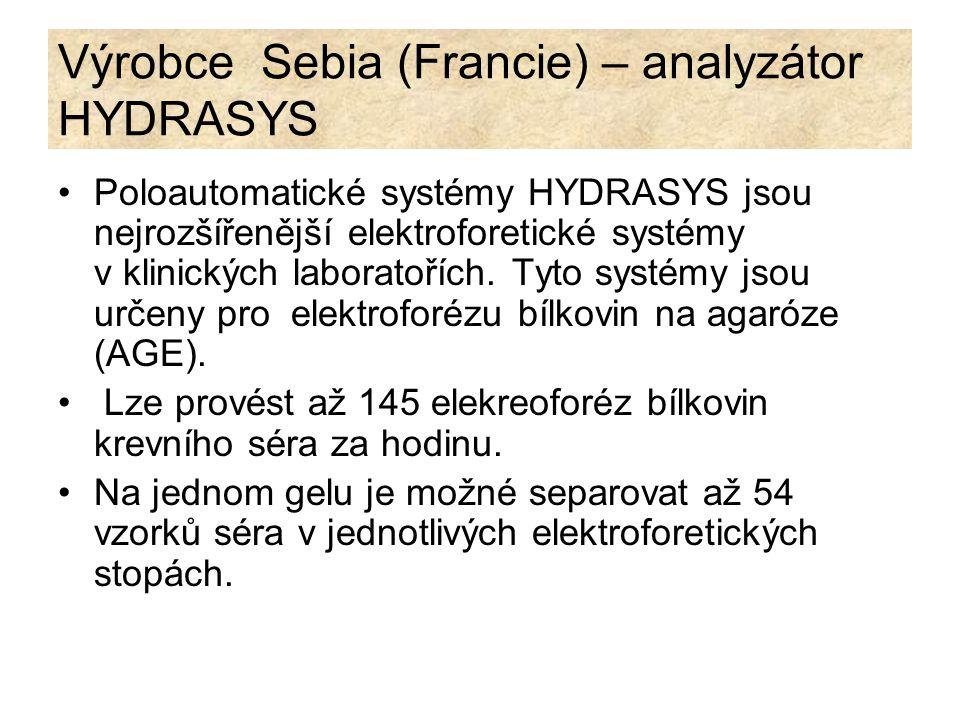 Výrobce Sebia (Francie) – analyzátor HYDRASYS Analyzátor Hydrasys: migrační modul - aplikaci vzorku, elektroforetickou migraci atd.