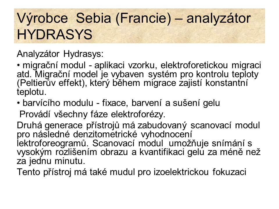 Výrobce Sebia (Francie) – analyzátor HYDRASYS Analyzátor Hydrasys: migrační modul - aplikaci vzorku, elektroforetickou migraci atd. Migrační model je
