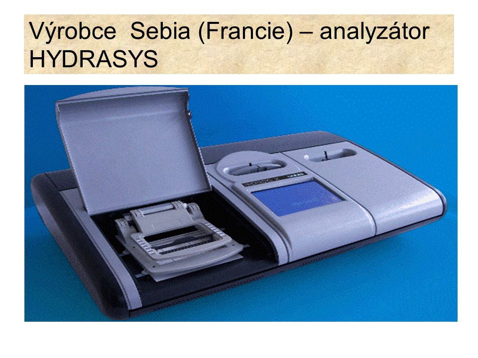 Výrobce Sebia (Francie) separace proteinů krevního séra, moče mozkomíšního moku nebo jiných biologických tekutin.