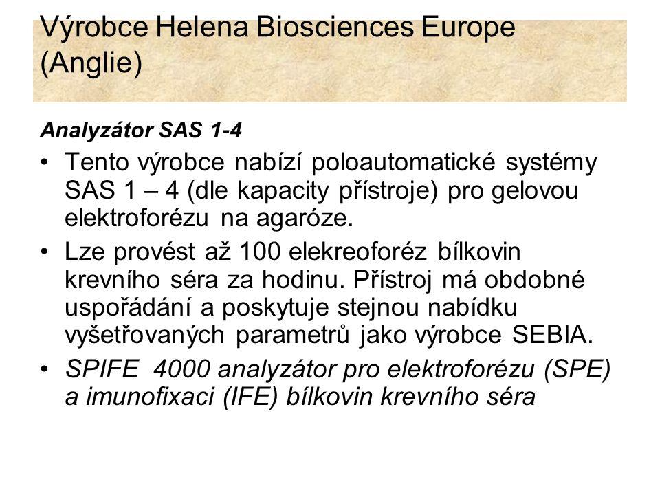 Výrobce Helena Biosciences Europe (Anglie) Analyzátor SAS 1-4 Tento výrobce nabízí poloautomatické systémy SAS 1 – 4 (dle kapacity přístroje) pro gelo