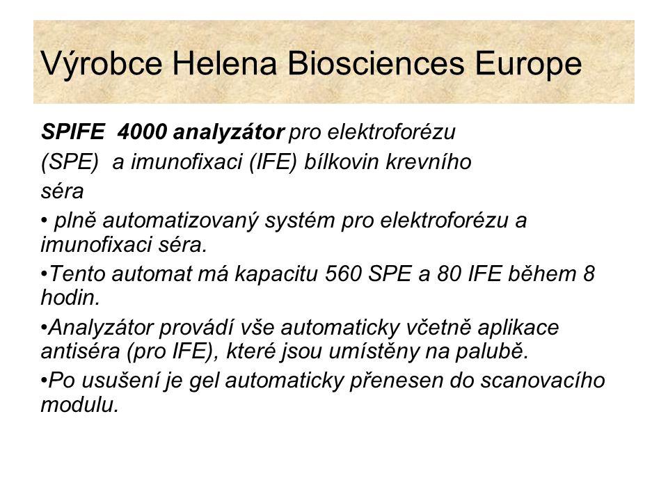 Výrobce Helena Biosciences Europe SPIFE 4000 analyzátor pro elektroforézu (SPE) a imunofixaci (IFE) bílkovin krevního séra plně automatizovaný systém